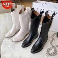 Outono inverno novo alto salto alto Bullock Botas Mid-Tubo Botas de Heeled Sapatos Femininos Cavaleiro Ponto Ponto Retro Martin Largo Botas # 928i