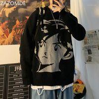Мужские свитера Zazomde 2021 Harajuku старинные уличные одежды вязаный свитер осень зима свободных сгущает теплый хип-хоп пуловер мужчины топ1