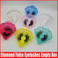 Cils de diamant en plastique Boîte de cils Emballage Emballage vide Boîtes de cils Emballage Emballage 3D Mink cils Diamond Boîtier avec plateau