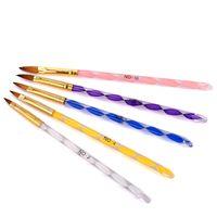 Acryl Nagelbürste Nylon Haar für Lernende UV Gelbauer Carving Flüssiges Powder DIY Schönheit Nail art Zeichnung Stift # 6 # 8