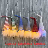 6 Kolory Oświetlone Gnomy Boże Narodzenie wbudowany bateria tkanina Sweidsh Santa Gnomes Elf Home Decorations Drzewo Wiszące ozdoby KKF2379