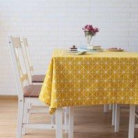 Lovrtravel Leinen Baumwollplatz Küchentisch Tuch Deckung Nordic Gelb Checkerboard Grau Weizen Spike Druck Tischdecke Benutzerdefinierte