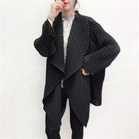 LANMREM New autumn Solid Color Lapel Mid-length Pleated Windbreaker Women Korea Loose Office Lady Coat Tide PD916 201226