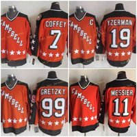 1984 All Star Orange Campbell 19 Steve Yzerman 11 Mark Messier 99 Wayne Gretzky 7 Paul Coffey Hockey Jerseys Logo