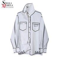Camicette da donna Camicie donna Solido bianco manica lunga 2021 autunno camicetta di grandi dimensioni camicia stampata signore stile unico chemise femme 6740