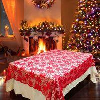 Tablecloths de laço floral retangulares Capa de mesa reutilizável para o casamento do Natal da noite da noite decoração1