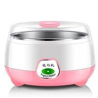 1L mini máquina de iogurte máquina de aço inoxidável lacre duplo selado automático máquina de iogurte automático casa cozinha diy ferramenta plástico recipiente1