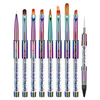 УФ-гель Nail Art Картина расставить Pen акриловые ручки Rhinestone Кристалл 2 Way Кисточка салон Украшение для маникюра Инструменты Kit 0324