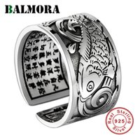 BALMORA Real 999 Silver Vintage Koi Open Stacking Finger Rings for Men Women Couple Special Gift Buddhism Sutra Fashion Jewelry 201112