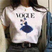 Модный балет танец девушка печати футболка мода женщины футболки старинные графические футболки женщин 90s ulzzang милые kawaii женские топы