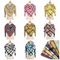 8 colores mujeres de la manera de la tela escocesa Pañuelos cuadrícula borla mantón de invierno pañuelo para el cuello del enrejado Triángulo Manta bufanda CYZ2850