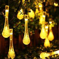 LED ماء قطرة المياه سلسلة الجنية ضوء 20 30 50 مصباح للطاقة الشمسية تستخدم لتزيين الفناء في الهواء الطلق