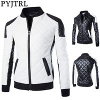 PYJTRL Men's Autumn Winter Fashion Black And White Color Matching Motorcycle Leather Coat 201224