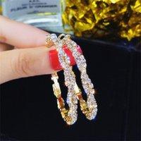 Mulher brincos Modern feminino feminino pendurado aro de cristal moda jóias s925 prata agulha círculo diamante brincos