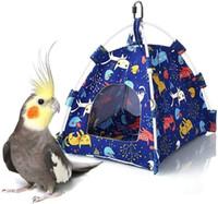 الطيور عش منزل منزل شنقا خيمة للببغاء الببغاء cockatiel الصغيرة المتوسطة الببغاوات قفص الموئل جثم لعبة الأزرق