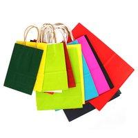 Borsa di carta kraft logo personalizzato 9 colori solido festival festival regalo pacchetto di carta marrone borse borse cardy shopping bag 345 J2