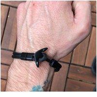 Braccialetto di ancoraggio uomo di punta di sopravvivenza di sopravvivenza corda corda braccialetti paracord moda nero colore braccialetto di ancoraggio maschile wrap in metallo spento qyltaf