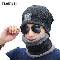 Goselhas ploermin 2 peças de inverno Beanie chapéu lenço conjunto quente malha grossa lã forrada crédica capota para homens mulheres1