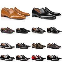 2020 anpassen Größe Mens echtes Leder Schuhe rote Turnschuhe Boden Low-Cut besetzt Spitzenschuhe Designer LuxuxMens Trainer Kleid