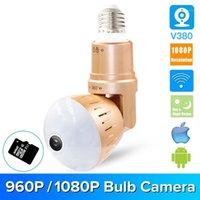 Cámara LED inalámbrica HD 1080P Cámara panorámica de 360 grados Cámara IP Panorámica Inicio Seguridad LED Bombilla de luz WiFi Monitor de bebé V3801