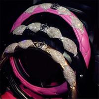 Крышки рулевого колеса 38 см Diamond Crown Cute Korean Современная кожаная крышка автомобиля универсальная ручка аксессуары для девочек