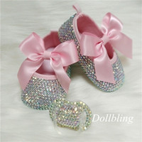 bowknot Custom Sparkle Bling Crystal Rhinestones Baby Girls Shoes Minal 0-1, ленты для ленты принцессы Обувь 201222