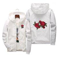 Bordado Rose Robrebreaker Jacket Men Cremallera con capucha Hombres Chaquetas de otoño Bomber College Varsity Pista Abrigos Mujeres Streetewear1