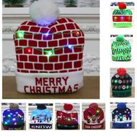 Navidad llevada luz hasta hicieron punto los sombreros Pom bola de Navidad Gorros Casquillo de esquí de Santa muñeco de nieve reno Árbol Hat para adultos cuentos para niños HH9-2463