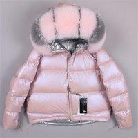 Маомаоконг зимняя реальная лиса меховой воротник белая утка вниз мягкий куртка регулярная мода теплый большой меховой воротник женское пальто 200923