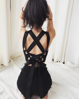 Summer Sexy Club Chic Punk Black Gothic Donne Donne Crop Top Top Streetwear Slim Hollow Lace Up Backless Goth Ladies Tappolle femminile Top1