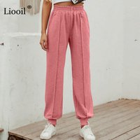 Lioooil Rahat Gevşek Pantolon Kadın 2020 Sonbahar Kış Cepler Ile MID Bel Düz Bacak Elastik Katı Kadın Parça Uzun Pantolon1