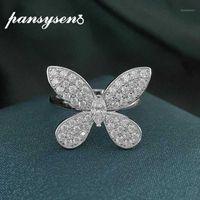 Pansysen 3x6mm Criado Moissanite Gemstone Butterfly Noivado Noivado Anel de Noivado Mulheres Sólida 925 Sterling Prata Fine Jewelry Rings1