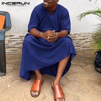 Abbigliamento etnico Incerun Uomini Musulmani Jubba Thobe a strisce Mezza manica V Collo a V Caftano 2021 Dubai Arabo Casual Casual ISLAMIC KAFTAN TOX ABAYA S-5XL 7