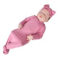 Ins concepteur beau nouveau-né couverture vierge bovompers avec haadband 2pieces bébé garçons filles combinaisons sacs de dormeur oneies 0-12m