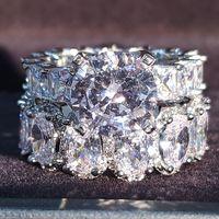 Real 925 sterling silver ovale principessa taglio anello nuziale set per le donne band di fidanzamento gioielli eternity gioielli zirconia r4975