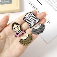 만화 패션 핀 반대쪽 페미니스트 레이디 헤드 에나멜 브로치 목걸이 건축 의류 장식 배지 선물 친구를위한