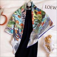 """Écharpe à tête de satin foulard femme foulards de la soie de soie pour femme laminée à la main Écharpe 90 Foulard Luxe Curling """"PLUMES EN FEETE"""""""