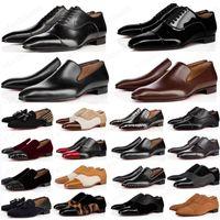 2021 Дизайнерская Мужская Обувь Мокасины Черный Красный Спайк Патентная Кожаная скольжение на платье Свадебные Квартиры Нижняя Обувь для деловой вечеринки Размер 39-47