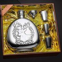 Conjunto de frasca de quadril para álcool 17oz de aço inoxidável garrafa de uísque 2 xícaras 1funnel groomsmen presente whiskey grande alkohol balão t200111