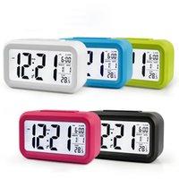 El sensor inteligente luz nocturna digital de alarma de reloj con termómetro Calendario silencioso tabla del escritorio del reloj de la mesilla de despertador Snooze IIA769