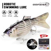 Roboterfischerei lockt Multipulationsköder 4 Segmente Elektrische Wobbler für Pike Auto Swimbait USB Wiederaufladbare LED-Lichtschwimmen 201030