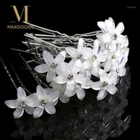 Clips Cheveux Barrettes 20pcs / Set Fleurs Blancs Stick Epin Stick Mariage Femmes Bridal Crystal U Crystal U Forme Clip ACCESSOIRES en gros1