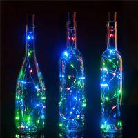 100pcs 1M 2M LED Cuir fil de cordon de cordon avec bouchon de bouteille pour bouteille d'artisanat de verre Valentins Décoration de mariage avec un navire rapide
