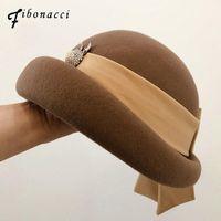 Fibonacci moda del sombrero de fieltro de lana elegante femenina de ala del sombrero de la cinta del arco floral formal de las boinas del sombrero de ala de invierno de las mujeres