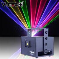 V-SHOW USA倉庫3W新しいデザインRGBアニメーションレーザーライトDMXコントロールライティングステージプログラマブルプロジェクターDJバーディスコ
