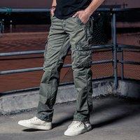 Pantalones para hombres Muchos bolsillo Ejército Táctico Masculino Camo Jogger Tallas Tamaño Pantalones de algodón Estilo Zip Camuflaje Hombres Negros Cargo