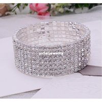 Superbe 7aux CZ strass Crystal Silver Bracelet Bracelet Vintage Mariage Bridal Bridal SQCTFJ DH_SELLER2010