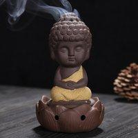 Keramik-Zenser-Pansy-Mönch sitzen in der Meditation niedlichen Duftlampen kleiner buddhistischer Mönch Lotus Ornamente Kunst und Handwerk heißer Verkauf 9ys k2