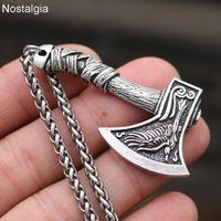 Zincirler Nostalji Kurt ve Kuzgun Slav Muska Tılsımlar Viking Odin Balta Kolye Kolye Norse Vikingler Takı Türk Erkekler Wicca