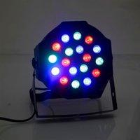 Descuento 24W 18-RGB LED Auto / Control de voz DMX512 Mini de alta calidad Lámpara de escenario (AC 100-240V) Negro * 10 Luces de cabeza móviles